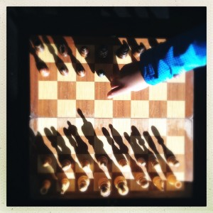 Playing chess with the LP at Dagny's.