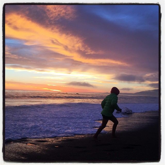 Sunset running from waves. #california #iphoneography #theiphonephotographer #beach
