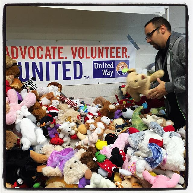 Sorting the Bears post-Teddy Bear Toss 2015.