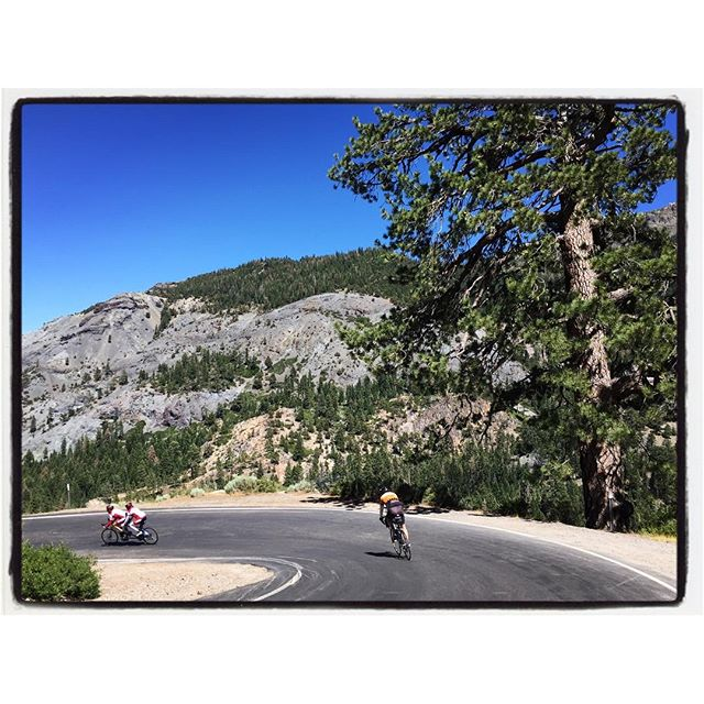 Riders on a hairpin turn descending from Ebbetts Pass during the Death Ride. #touragainsttrafficking #deathride #bikelife #california