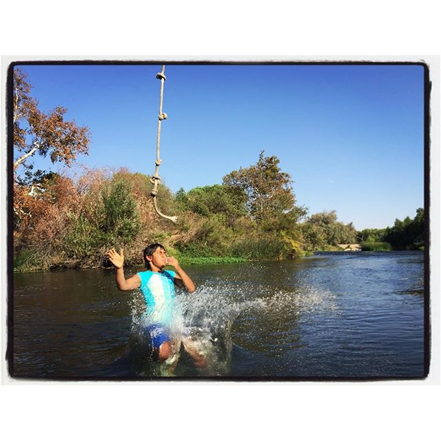 Really proud today. Someone over their fear and enjoyed the rope swing at the mighty Kern River. Laughter knows no language barriers, today everyone had to overcome their fears. Out mutual humanity united in water fun. #socal #humanity #lovelovelove