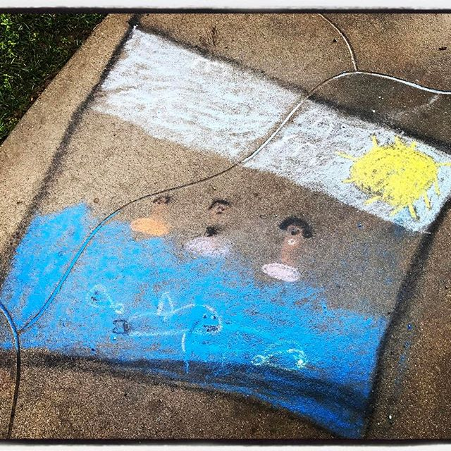 Chalk art 'melted' by rain on our front sidewalk. The first activity we did at home w/ Nalani on her first night with us was chalk on the sidewalk. Some many mixed emotions that day, for all of us. #dadlife