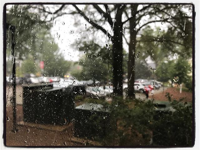 A little moist out there today. View from my office window. I suspect that this is Harvey's arrival in town. #meekjourno