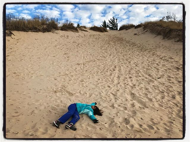 I can't believe that she rolled down that entire dune. #dadlife #getoutside