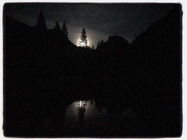 Moon ride over Yosemite Valley (iPhone), Half Dome to the right of the moon. #iphoneography