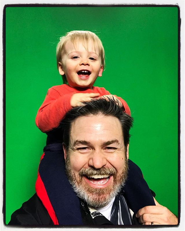 Chai and I in front of the green screen at News Watch at the Student Media Center. #meekjournalism #dadlife