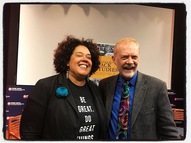Proud to call this remarkable photojournalist and filmmaker @pixlady colleague. Seen here with Jerry Mitchell,  from the Clarion Ledger at the screening of 'Measure of Progress: The Clyde Kennard Story' Kudos to Bobby Steele and @jiho7on for working on the film as well. #meekjournalism #meekjourno #iphoneography